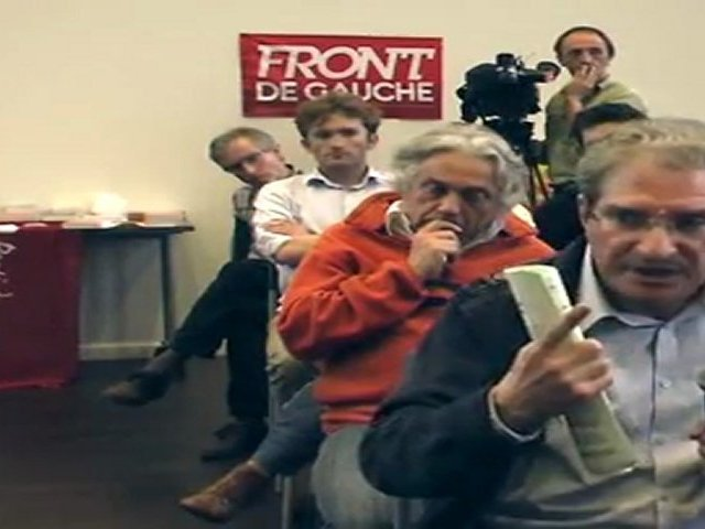 Front de Gauche, assemblée citoyenne de Villeurbanne, le 28 mars 2012 : Armand Creus prend la parole au nom des éboueurs en grève