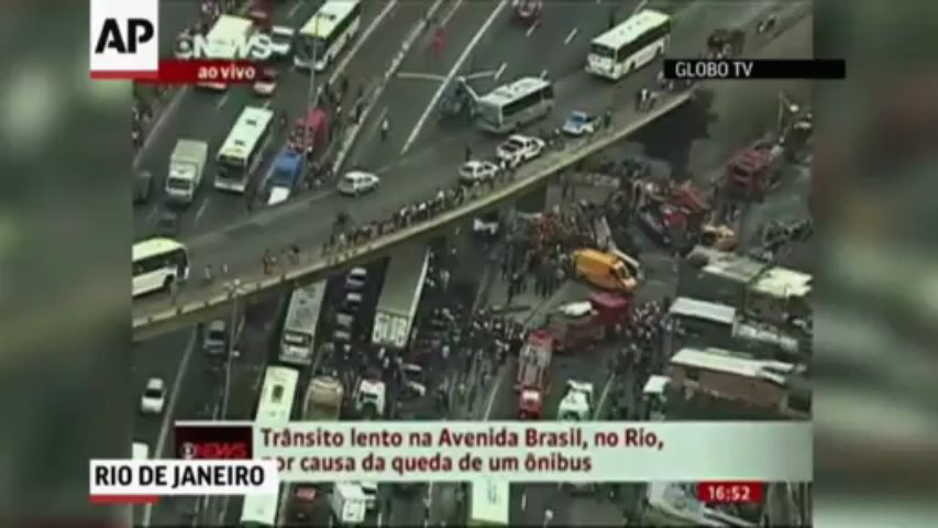 Raw: Bus Falls From Viaduct in Brazil