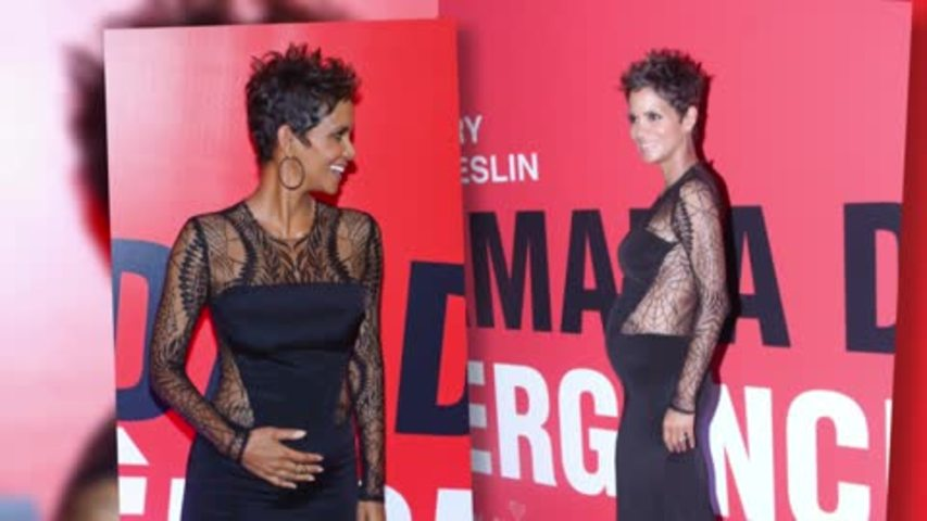 Pregnant Halle Berry Beams in Sheer Dress in Brazil