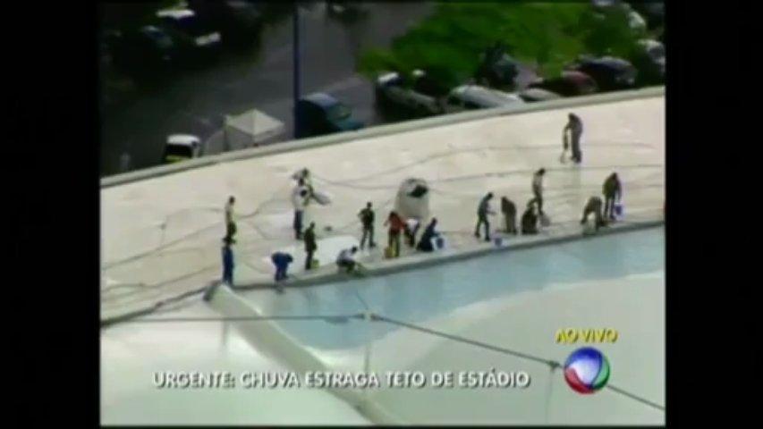Rain Damages Brazil Soccer Stadium