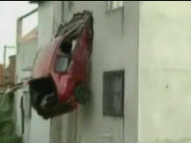 Car smashes into second floor of house in Brazil
