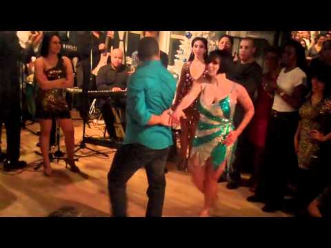 Melanie Torres and Gabriel Perez dancing Salsa at the Dance on 2 Holiday Social: 12/17/10