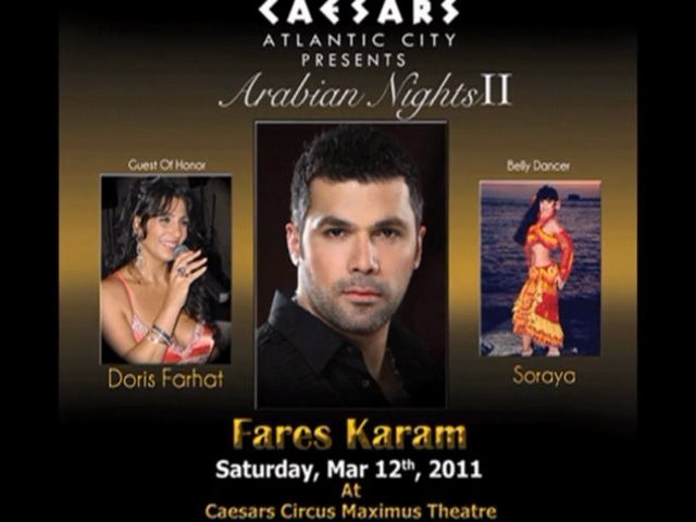 Fares Karam Debke singer from Lebanon + International belly dancer Soraya concert Caesars Atlantic City, NJ