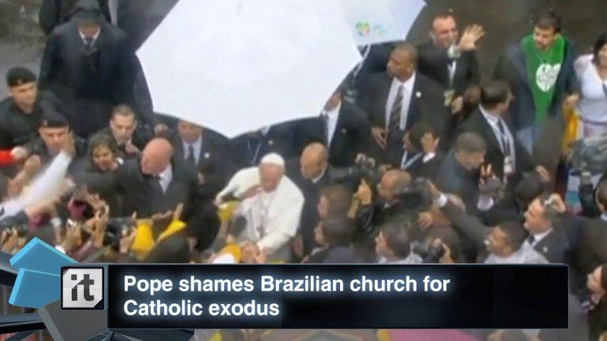 Pope shames Brazilian church for Catholic exodus