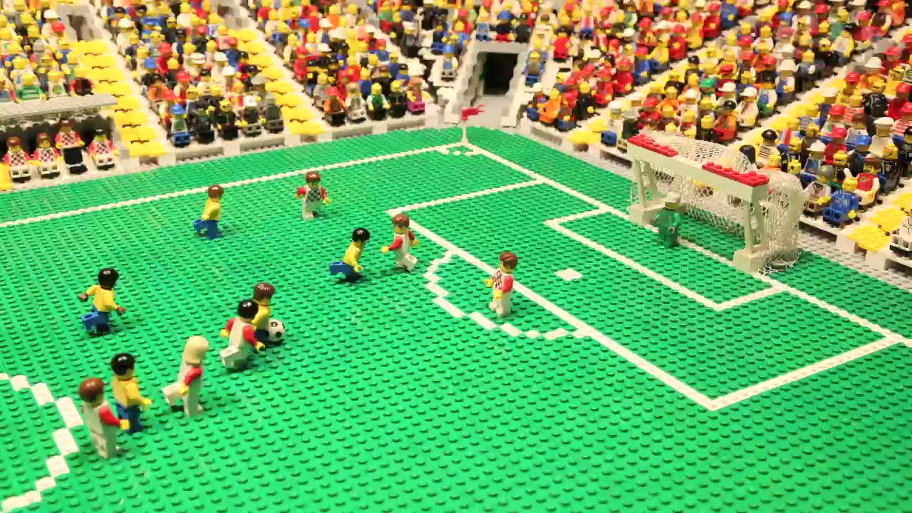 "Brazil v Croatia at World Cup 2014 a€"" brick-by-brick video animation"