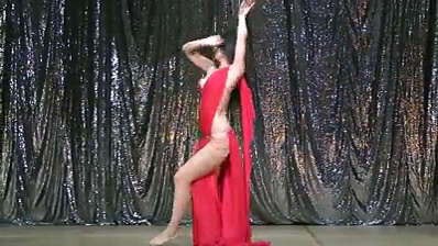 Gorgeous arabian lady belly dance on stage