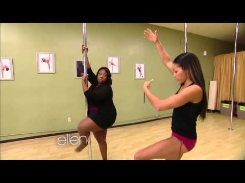 Loni Love Learns to Pole Dance w/ Nicole Williams at Allure Dance Studio (Ellen Show)
