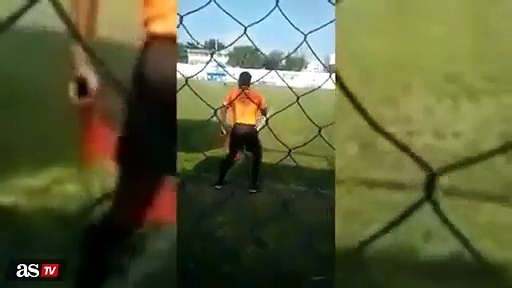 Linesman pretty amazing dance moves during a football game in Brazil