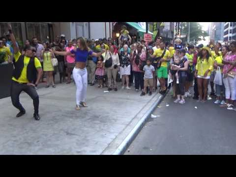 BRAZILIAN GIRL DOES A WILD STREET SAMBA MUSIC PUNTA DANCE AT THE 2016 BRAZIL DAY NYC NEW YORK USA